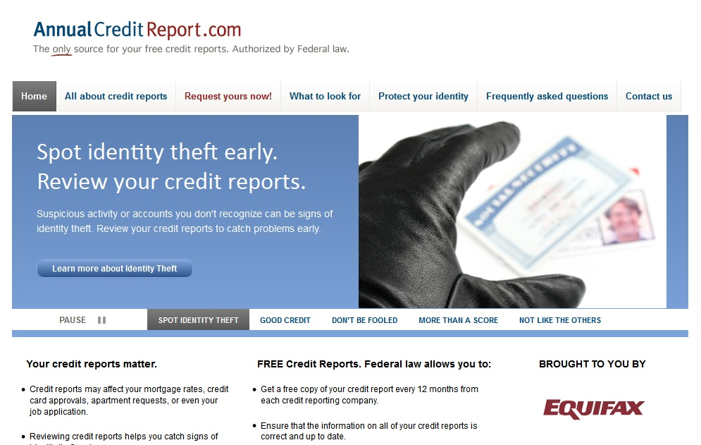 the only authorized source of your free annual credit report under federal law